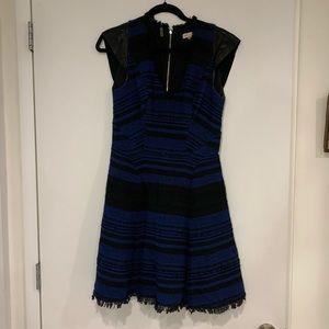 Rebecca Taylor blue back Apache dress w leather 8